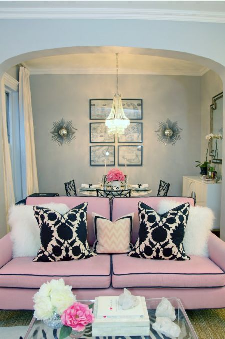 Pink Couch: Dining Rooms, Bachelorette Pads, Living Rooms, Pink Sofas, Pink Couch, Color, Apartment, Small Spaces, Pink Black
