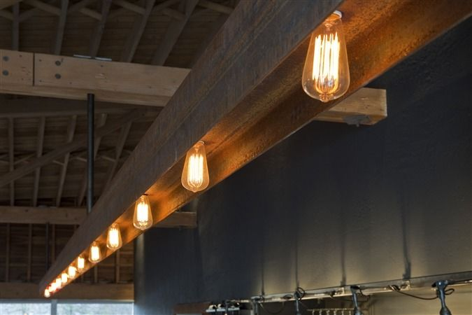 Cool Pool Table Lights >> Bankers Hill - Basile Studio steel beam and then wire... prefect for over the pool table ...