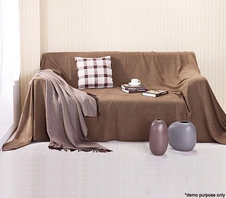 Faux Suede Sofa Slipcover - Coffee