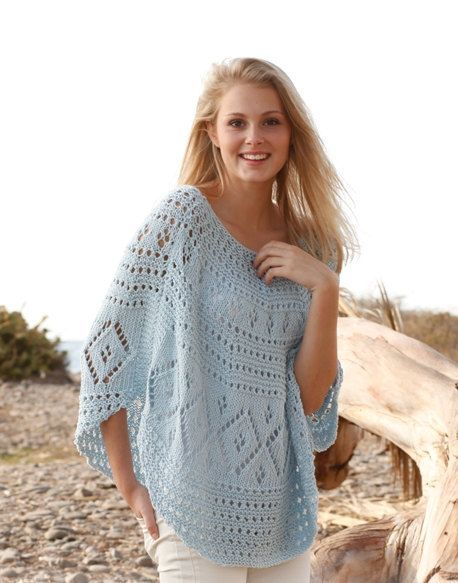 Knitting Pattern For Lace Poncho : Knit Poncho, Lace Poncho, Lace Cover Up, Beach Cover Up Sizes S to XXXL Bea...