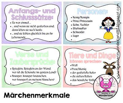 Teacher In Wonderland: Kleine Plakate zu den Märchenmerkmalen
