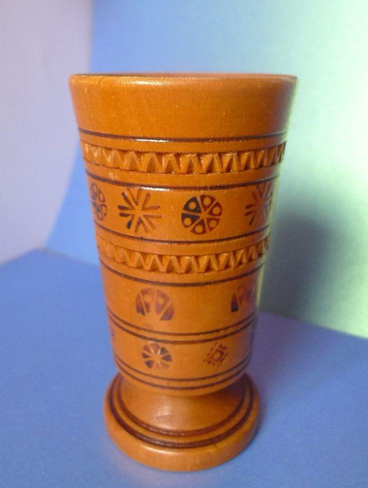 Vintage USSR Soviet Pottery Latvia Folk Art Wood rezboy Cup Vase Handmade