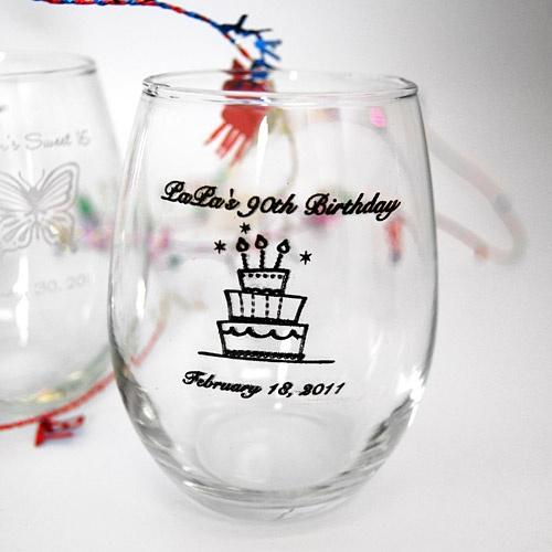 Personalized 9 Oz Birthday Stemless Wine Glass
