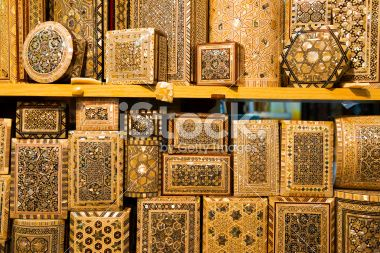 Mother of Pearl boxes at Grand Bazaar Istanbul Royalty Free Stock Photo
