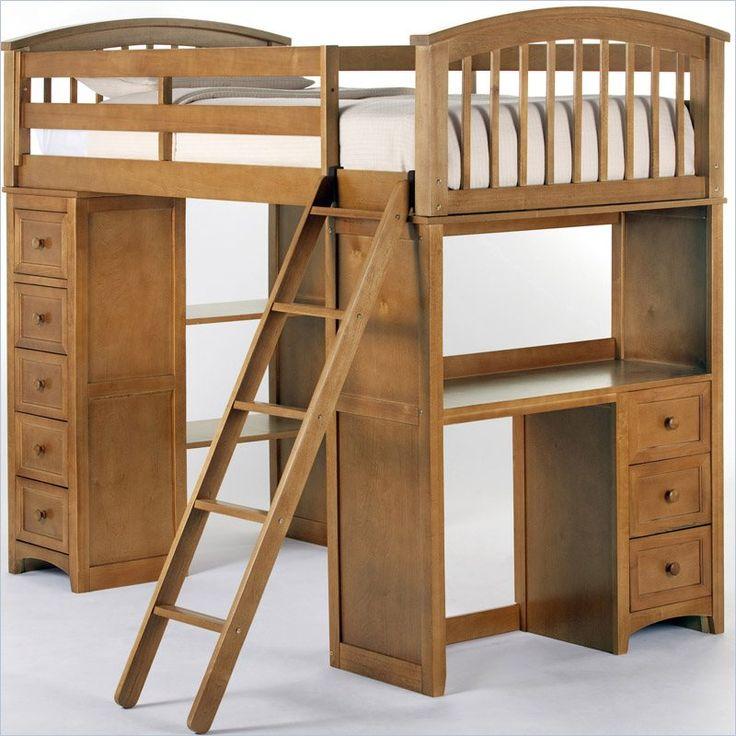 ne kids school house student loft bed in pecan 6080 loft twin bed framestwin - Loft Twin Bed Frame