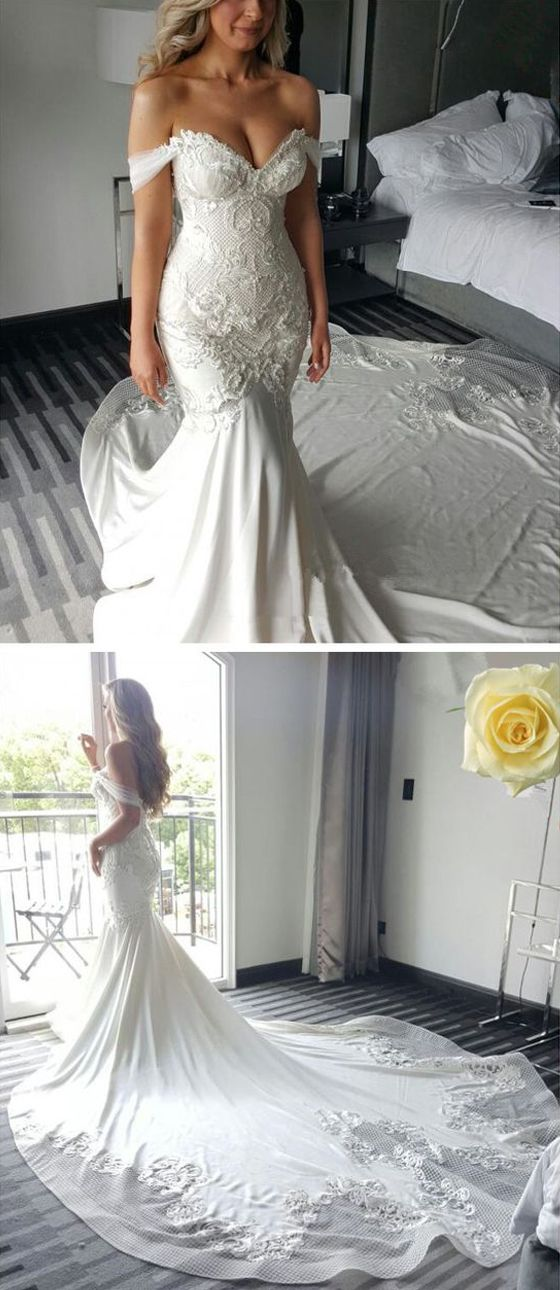 Off the Shoulder Mermaid Sweetheart Charming Long Bride Wedding Dress, BG51617