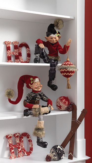Posable Elves from the 2013 RAZ Aspen Sweater Collection....all dressed up in their winter clothing with faux fur, boots and sweaters....see more of the Aspen Sweater Collection at www.trendytree.com