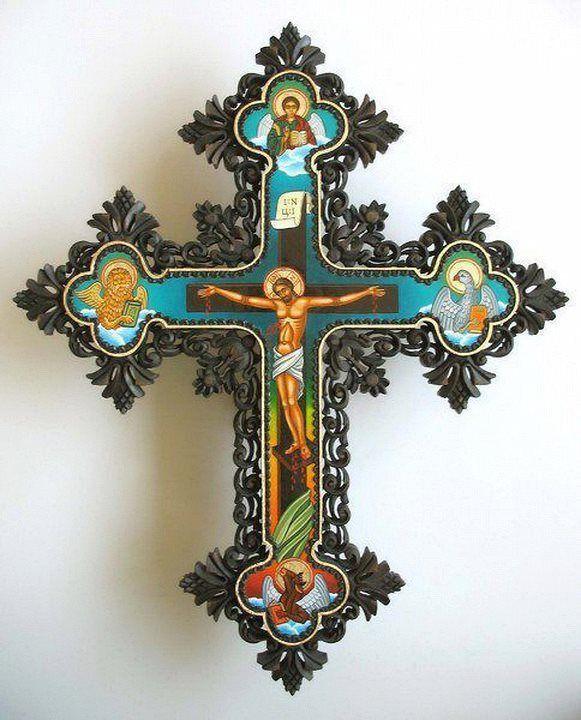 Cruz con Cristo y los 4 Evangelistas