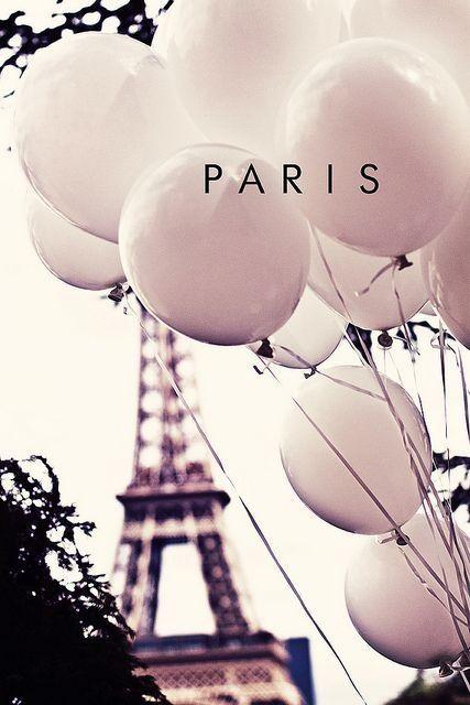 paris, blush balloons, eiffel tower
