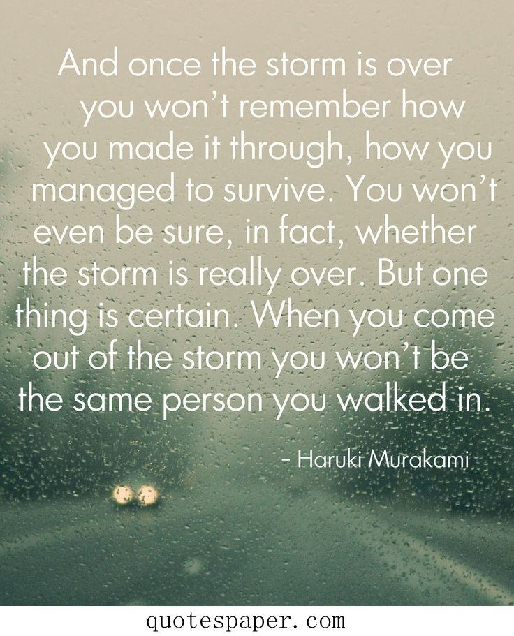 Like most people I've walked through many, many sh*t storms.This quote is exactly how I felt.~Always changing~ Thank You for this.