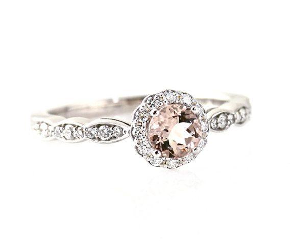 14K Morganite Engagement Ring Morganite Ring Diamond Halo 14K 18K Platinum Palladium Custom Bridal Jewelry