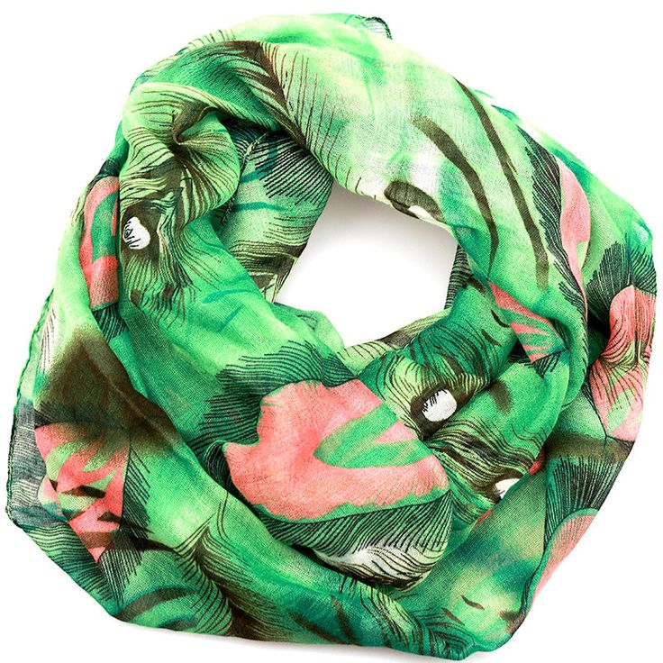 $11.99, Green Peacock Inifinity Scarf, women for her fashion accessoires teen gift idea holiday travel loop circle by URFashionista.com on Etsy