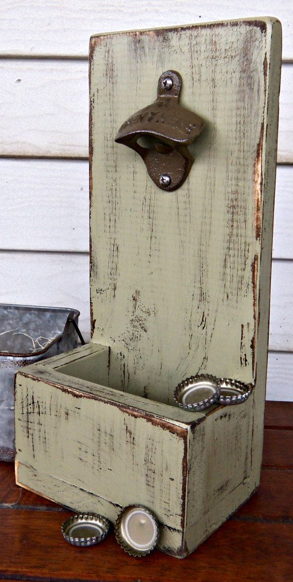 Bottle Cap Opener  Cap Catcher - Beverage Bottle Opener- Beer Bottle Opener - Distressed Wood - Rustic Decor - Cast Iron Opener on Etsy, $28.00