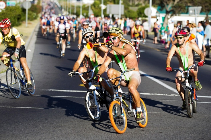 Cyclists put comedy ahead of comfort by wearing green Borat tankinis during the 2012 Cape Argus Pick n Pay Cycle Tour