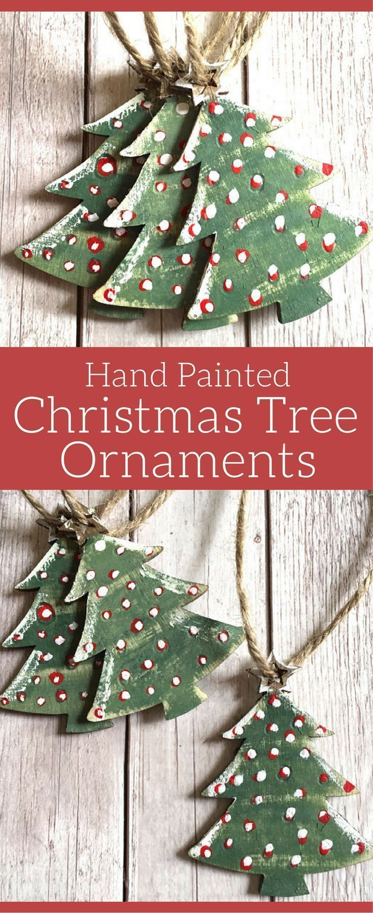 Christmas Tree Ornaments, Christmas Decorations, Set of 3 Hand Painted Wooden Ornaments, Rustic Christmas Decor, Mini Christmas Trees, Red and Green, Christmas Fir Trees, Christmas ornaments #affiliate