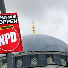NPD party placard seen in front of Sehitlik Mosque in Berlin