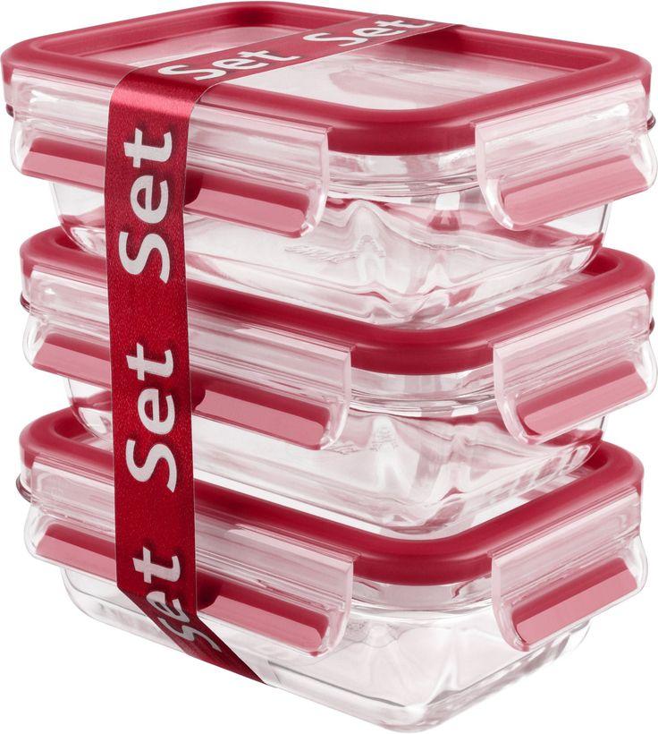 EMSA Clip & Close Frischhaltedosen Glas, 3-teiliges Set, rot, Set besteht aus: 3 x 500 ml - Dosen online kaufen | hygi.de