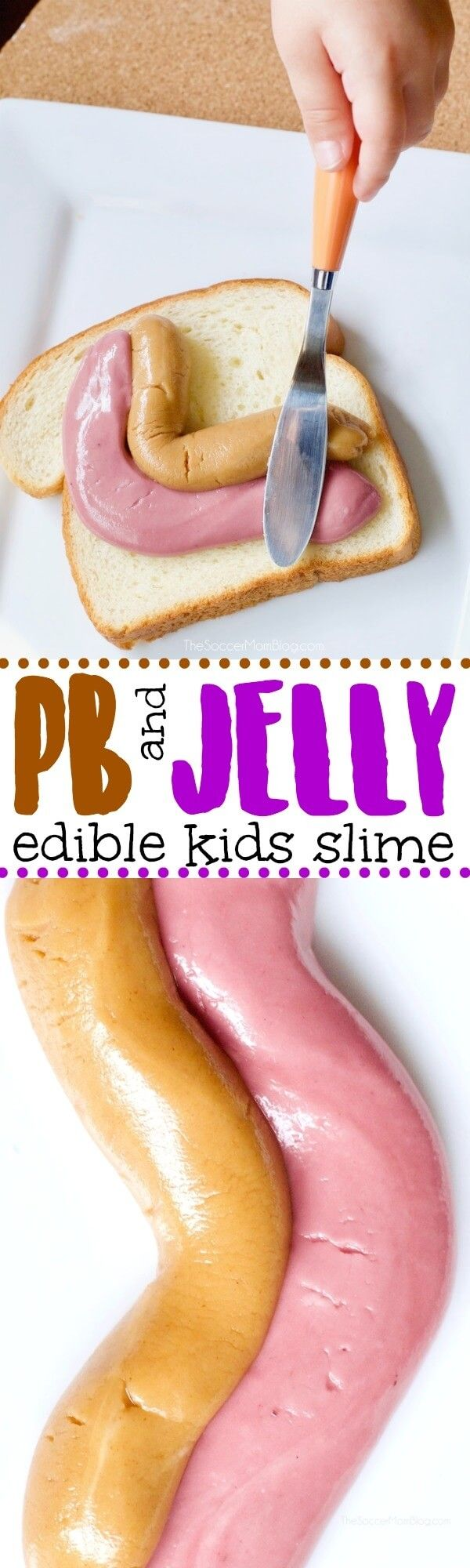 A childhood lunch classic, transformed into hours of squishy sensory play— kids will love this NEW Peanut Butter & Jelly Edible Slime recipe! #slime via @soccermomblog