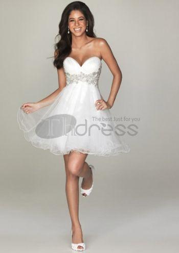 A-line korta aftonklänningar vita sexiga balklänningar