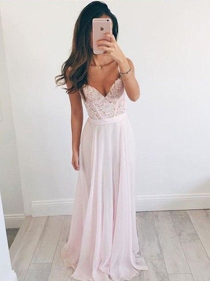 Pink A-line V-neck Chiffon Appliques Lace Floor-length New Arrival Ball Dresses
