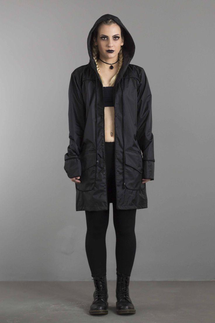 capa de chuva preta nylon impermeável