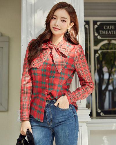 Tie Neck Plaid Blouse CHLO.D.MANON | #cute #ribbon #red #plaid #blouse #koreanfashion #kstyle #kfashion #dailylook #seoul
