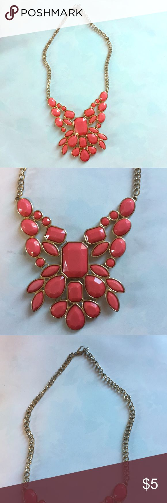 Coral Pink statement Necklace Coral pink and gold plastic statement necklace. Worn a handful of times but in good condition with no damage. Jewelry Necklaces