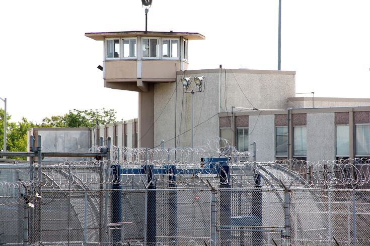 A guard tower looms over the correctional complex on State Road in Philadelphia.