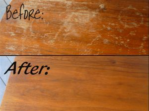 How To Fix Scratches on Wood Furniture- 1/2 cup of vinegar with a 1/2 cup of olive oil - rub it on, thats it! Ill have to try