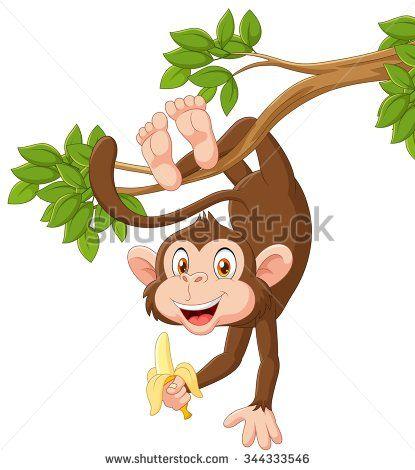 Cartoon happy monkey dancing holding banana - stock vector