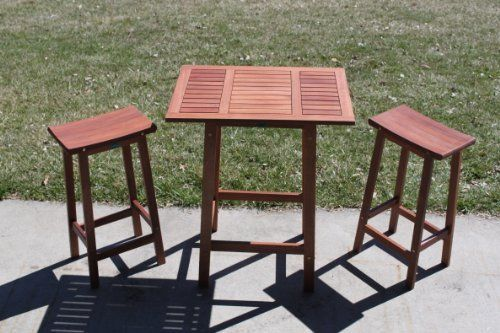 """3pc Outdoor Wood Patio Balcony Saddle Bar Set by AgioLiving. $214.99. Some Assembly. Table: 29"""" W x 21"""" L x 36"""" H. Reclaimed Dark Selunsar Wood. 3pc Wood Balcony Bistro Set. Stools: 16"""" L x 9"""" W x 29"""" H. Other Patio Furniture Available by AgioLiving"""