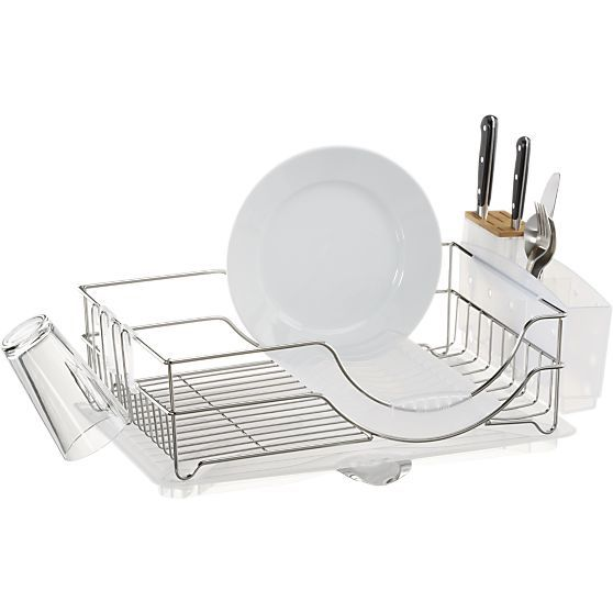 "simplehuman ® Dish Rack System | Crate and Barrel Overall DimensionsWidth: 21"" Depth: 14"" Height: 6.75"""
