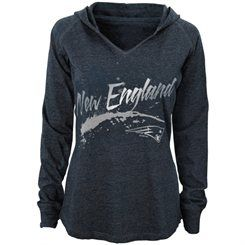 New England Patriots Girls Navy Blue Junior Collection Fabulous Hoodie