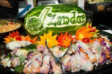 A branded watermelon at a golf themed Bar Mitzvah.    Bar Mitzvah Food | Golf Bar Mitzvah | Golf Theme | Bar Mitzvah Ideas