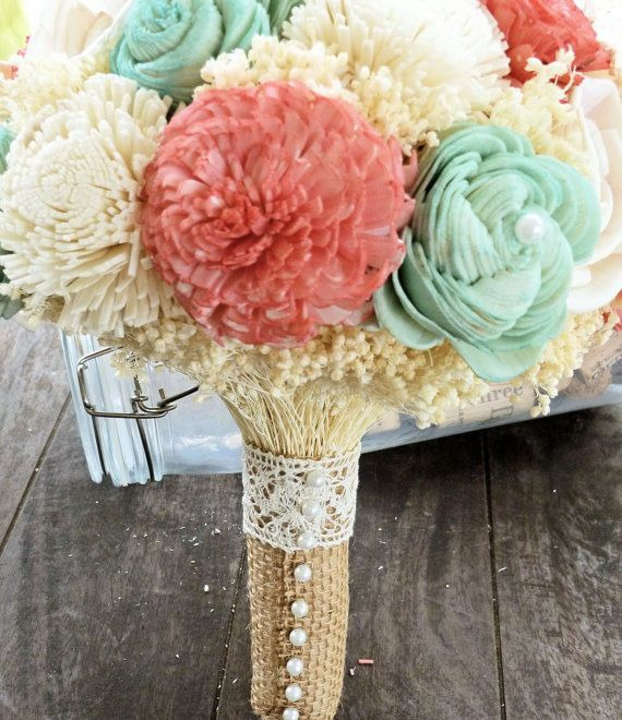 Natural Wedding Bouquet Large Coral Mint by CuriousFloralCrafts, $114.00