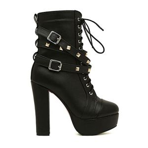 Rivets Shoelace Black High Heels   pariscoming