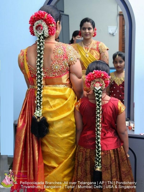 Telugu bride and Bridesmaid wearing pellipoolajada 425