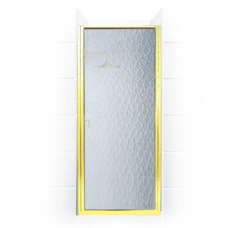 Coastal Shower Doors Paragon Series 28 in. x 69 in. Framed Continuous Hinged Shower Door in Gold with Aquatex Glass