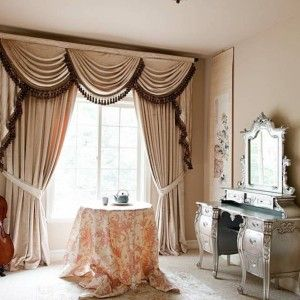 Pearl Dahlia Swags And Tails Valance Curtain Set Subtle In Fabric Design This