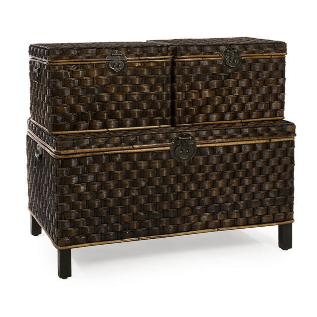 Stylish yet functional Seagrass Trunks Set of 3 available at Country Villa Decor - Tuscan Accents Inspiration Room www.country-villa-decor.com  $300