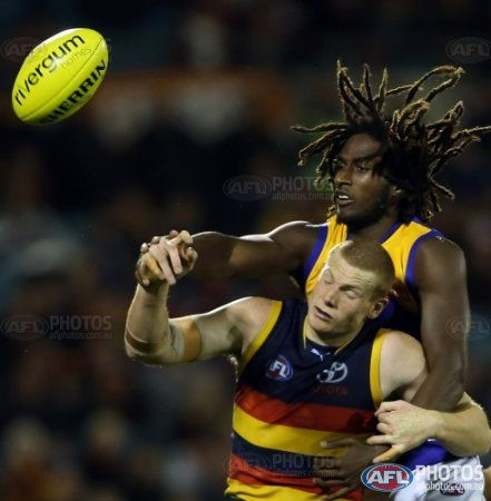 Sam Jacobs of the Crows clashes with Nic Naitanui of the Eagles during the 2013 AFL Round 15 match between the Adelaide Crows and the West Coast Eagles at AAMI Stadium, Adelaide on July 06, 2013. (Photo: AFL Media)
