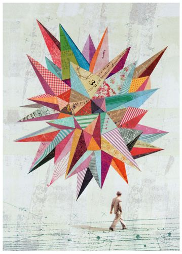 Folio Society by Martin O'Neill - collage effect trend, geometric shapes, photography integrated, various patterns and textures create a colourful piece