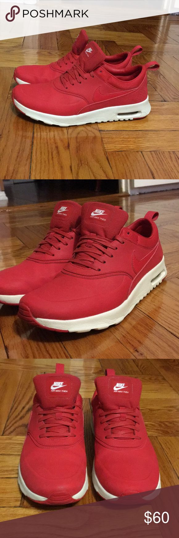 Nike Air Max Thea Premium in red Beautiful Nike Air Max Thea Premiums in size 8  Some normal wear but still great condition Nike Shoes Sneakers