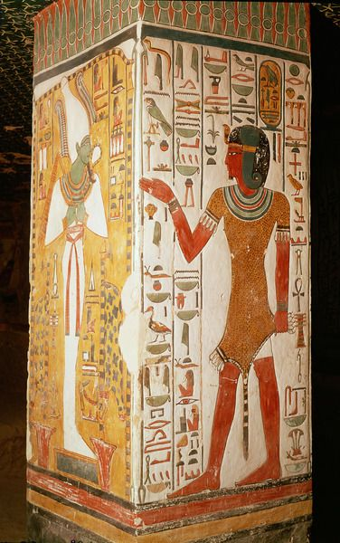 Pillar depicting Osiris and a priest wearing a panther skin, from the Tomb of Nefertari (QV66), Valley of the Queens, Thebes.