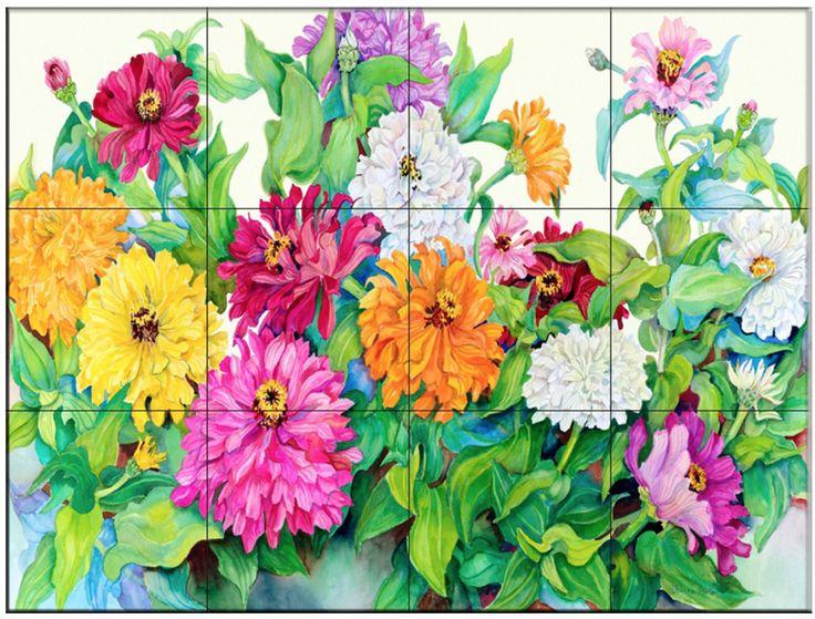 http://www.houzz.com/photos/17261247/Tile-Mural-Festive-Zinnias-Kitchen-Backsplash-Ideas-17x1275-traditional-tile-murals