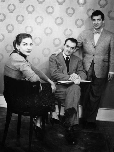 Mario Dondero - Maria Callas, Luchino Visconti, Leonard Bernstein