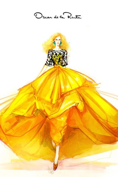 Oscar de la Renta. this is stunning, the bottom of the dress looks like Belle's from beauty and the beast!