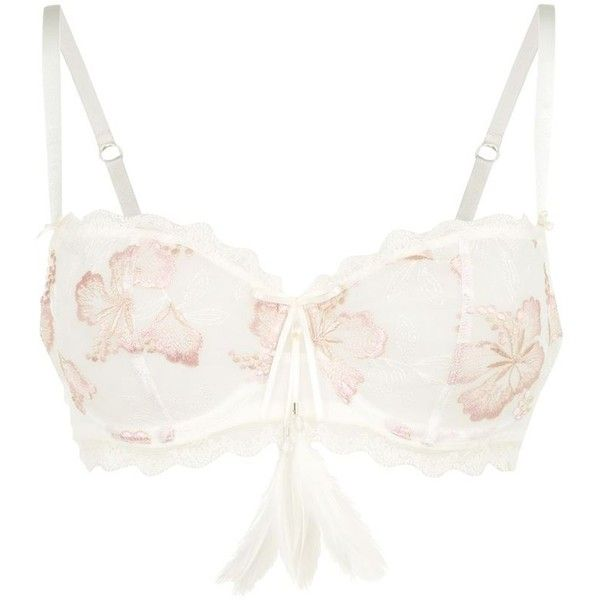 Aubade Brazil Paradise Half Cup Bra ($115) ❤ liked on Polyvore featuring intimates, bras, lingerie, lingerie bras, aubade bras, aubade, feather bra and aubade lingerie