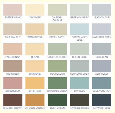 Fargekartet til Heritage Colours med deres georgianske farger.
