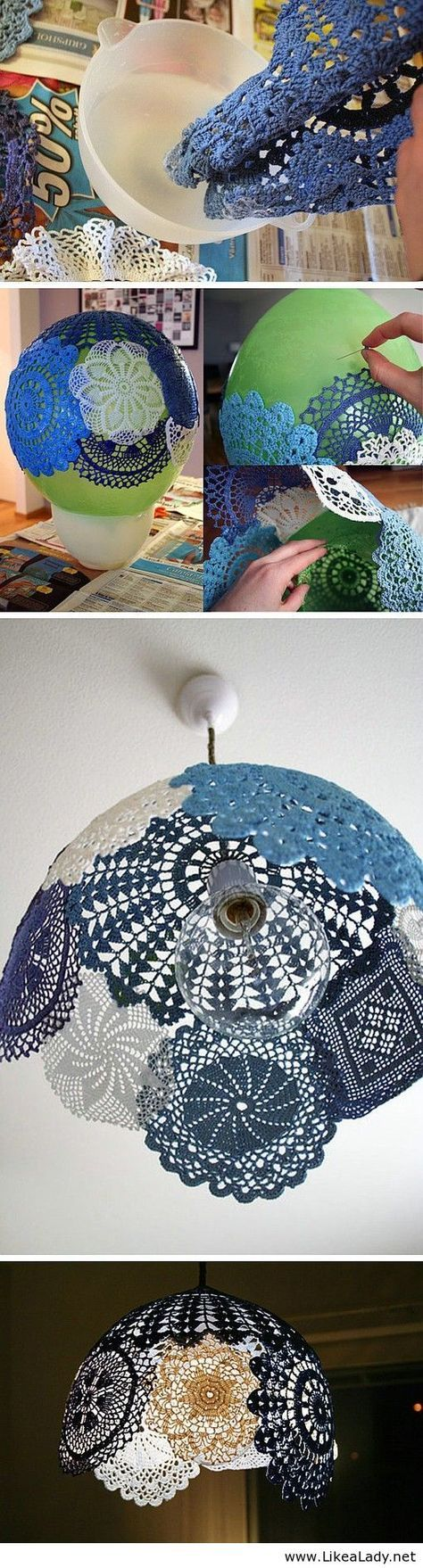 DIY doilie light shade. This is so pretty. It'd be really great in a country home.